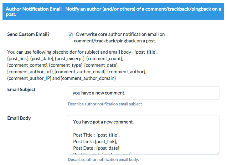 author notification email Wordpress Custom Emails