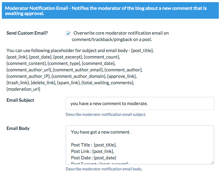 moderator email Wordpress Custom Emails