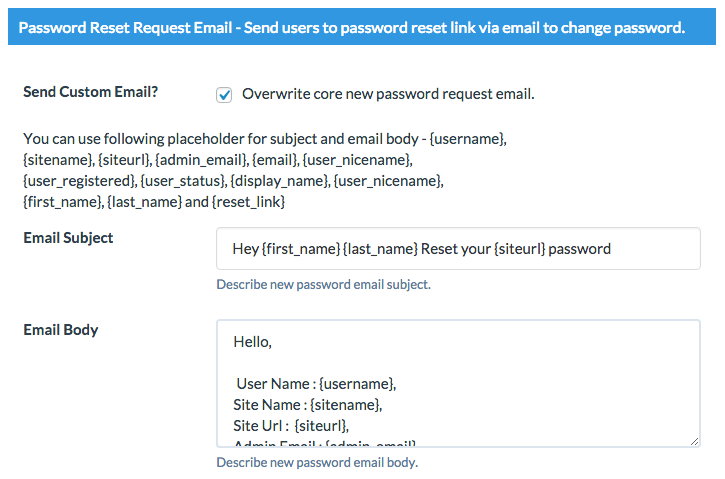 password email Wordpress Custom Emails
