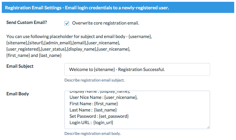 registration email Wordpress Custom Emails