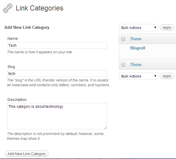 """link categories1 What is """"Links Manager"""" in WordPress?"""