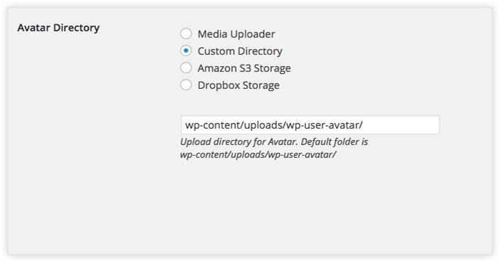 choose directory WP USER AVATAR