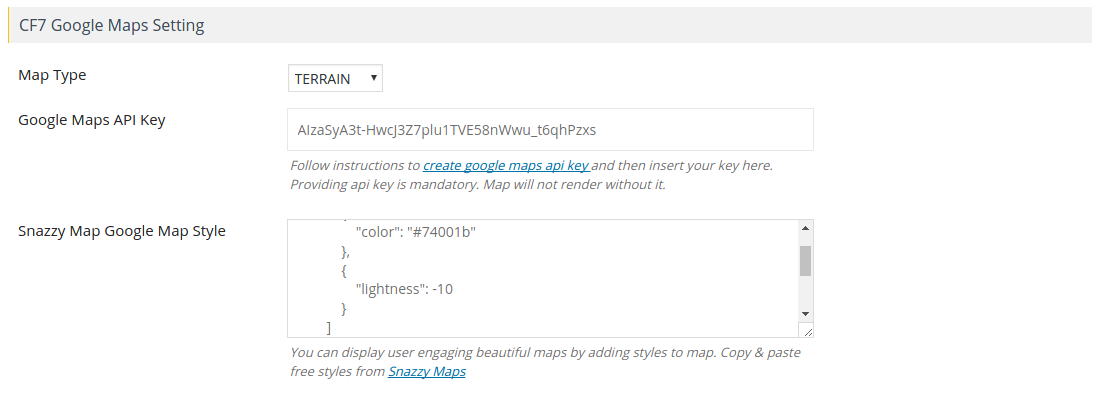 CF7 Maps Settings